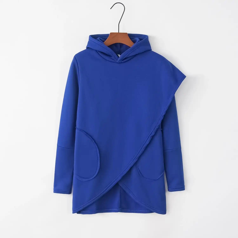 Camisola feminina 2019 outono inverno plus size manga comprida bolso pulôver camisola feminina casual quente camisola com capuz