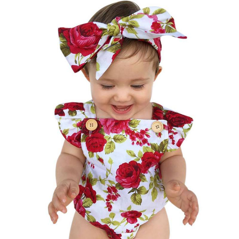 Cute Floral Romper 2pcs Baby Girls Clothes Jumpsuit Romper+Headband 0-18M Age Ifant Toddler Newborn Outfits Set