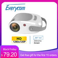 Everycom-mini proyector R5 de 720P, HD, 1280x720p, LED, vídeo, proyector portátil para cine en casa, HDMI, USB, compatible con Full HD 1080P
