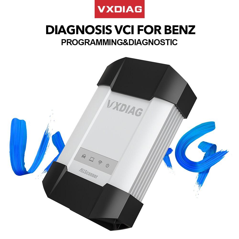 Vxdiag vcx c6 para benz profissional ferramenta de diagnóstico do carro sd conectar melhor do que mb estrela c4 c5 wifi obd2 código scanner programação