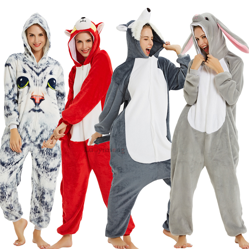 Adult Animal Pajamas Women Unicorn Sleepwear Onesie Kigurumi Panda Pyjama Anime Cartoon Overalls Witner Pikachu Nightie Jumpsuit