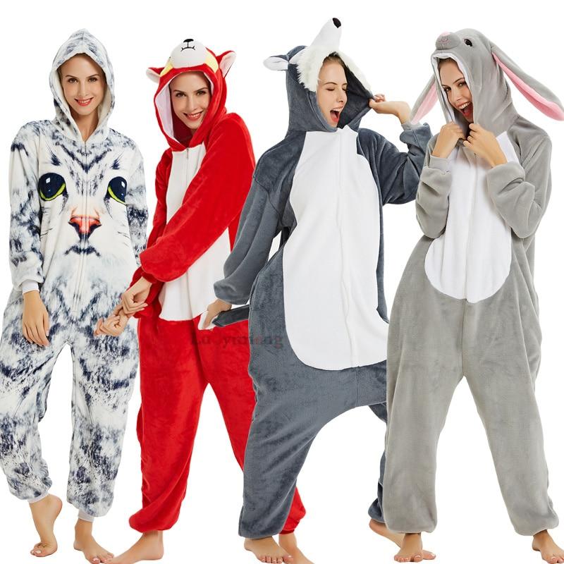 Adult Animal Pajamas Women Unicorn Sleepwear Onesie Kigurumi Panda Pyjama Anime Cartoon Overalls Witner Pikachu Nightie Jumpsuit
