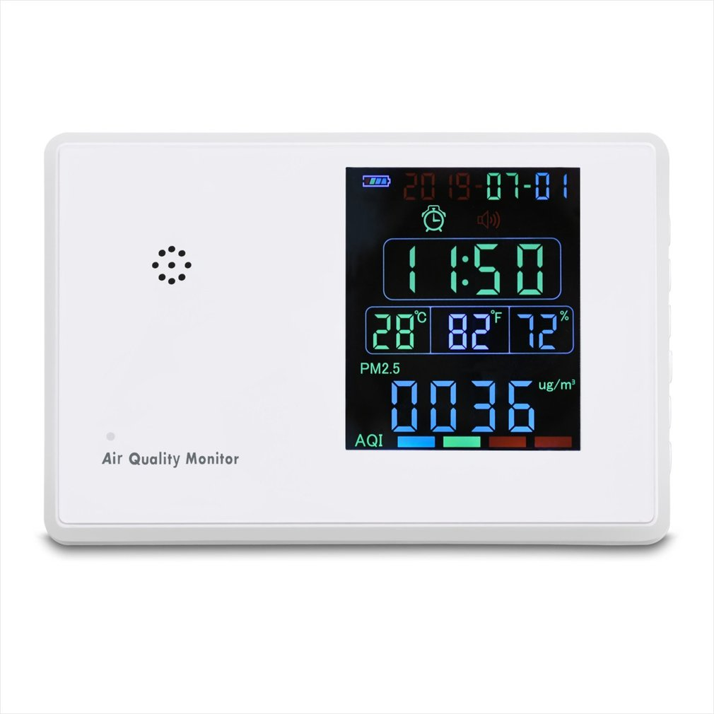 Air Quality Monitor Formaldehyd PM2.5 CO2 TVOC AQI Monitor Detector Tester Gas Analyzer Thermometer Hygrometer Alarm Clock
