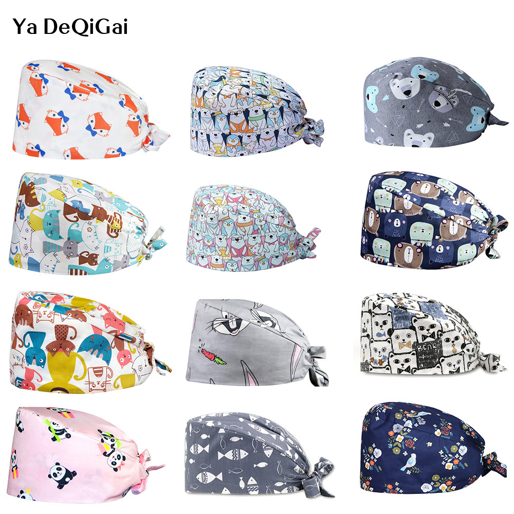 Lab Medical Work Hat Surgical Hats Adjustable Size Caps Scrub Hats Doctor Nurse Pharmacist Work Caps Cotton Breathable Caps New