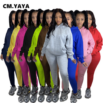 CM.YAYA Active Sweatsuit Two 2Piece Set for Women Winter Fitness Outfit Fleece Pullover Hoodies +Jogger Pants Matching Tracksuit 1