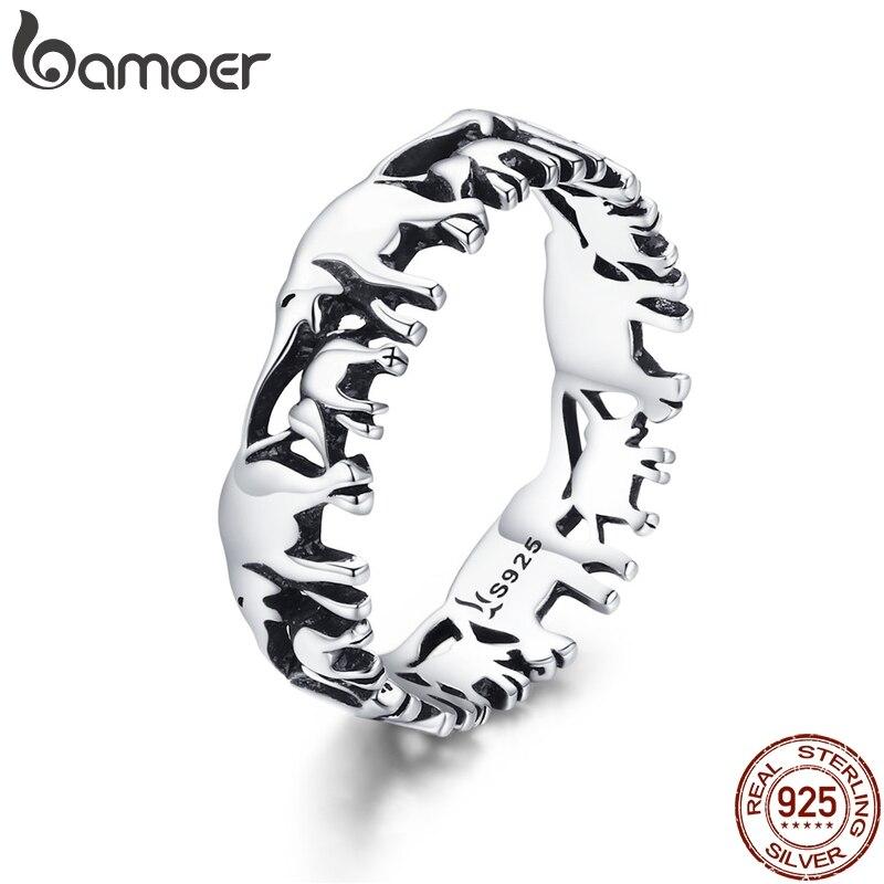BAMOER 925 Sterling Silber Stapelbar Tier Sammlung Elefanten Familie Finger Ringe für Frauen Jewelyr SCR344