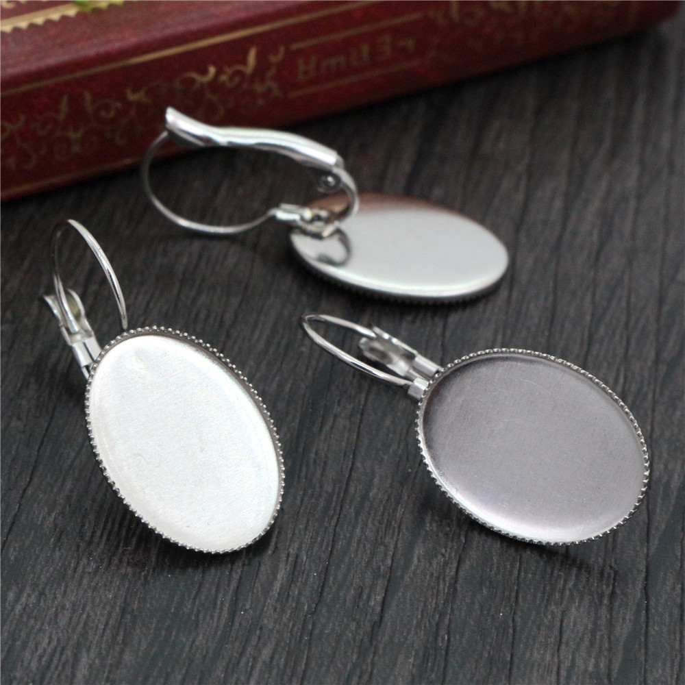 ( No Fade ) 13x18mm 10pcs/Lot Stainless Steel Oval French Lever Back Earrings Base,Fit 13*18mm Oval Glass Cabochons-T6-43