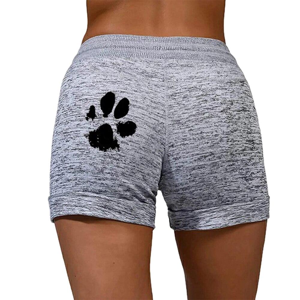 Muyogrt Summer Women Casual Running Sports Shorts Waistband Elastic Waist Shorts Fashion Female Girls Paw Print Loose Shorts 3