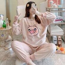 Осенне зимние теплые пижамы Фланелевые брюки с длинным рукавом