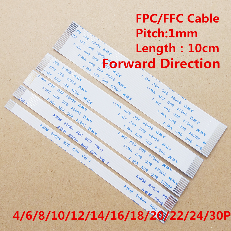 10pcs 1mm Pitch FFC / FPC Flexible Flat Cable 10cm Forward Ipsilateral 4P/6/8/10/12/14/16/18/20/24/30pin