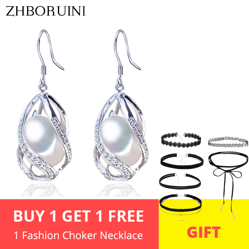 ZHBORUINI perle boucles d'oreilles goutte d'eau perles boucle d'oreille naturelle perle d'eau douce 925 bijoux en argent Sterling pour les femmes Cage en gros