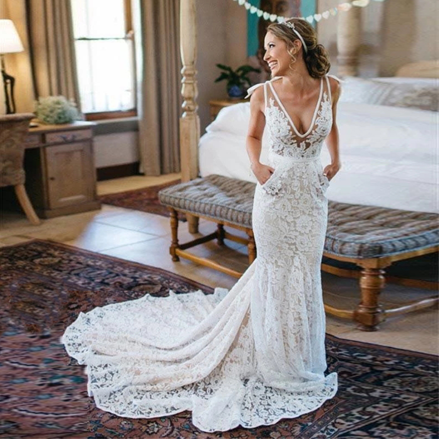 Bohemia Backless Lace Pockets Mermaid Ivory Wedding Dress Court Train Beach Garden Bridal Gowns With Pocket