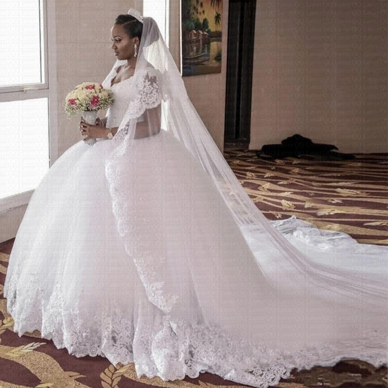 White Ball Gown Wedding Dresses 2020 Cap Sleeve  Beading Gorgeous Lace V-Neck Royal Train Plus Size Bridal Gowns Robe De Mariage
