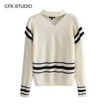 Knitted Sweater Women Jumper Winter 2019 New Fashion v-neck black white striped Casual Thin Pullover Fashion korean knit top black fashion v neck drop shoulder jumper