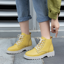 Fashion Yellow Boots Platform Women Ankle For Leather White Punk Autumn Winter 2019