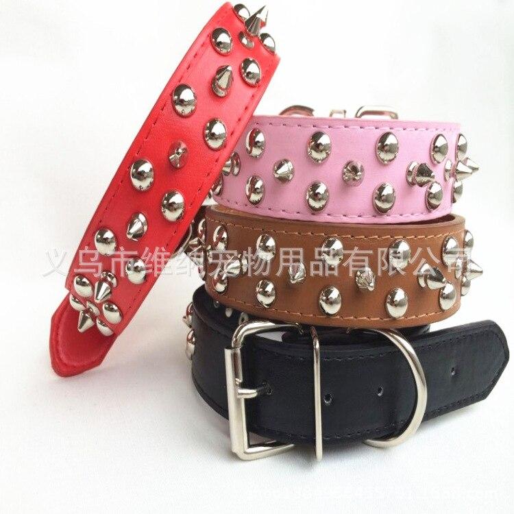 Pet Supplies Pu Neck Ring In Large Collar Rivet Pet Collar Dog Supplies