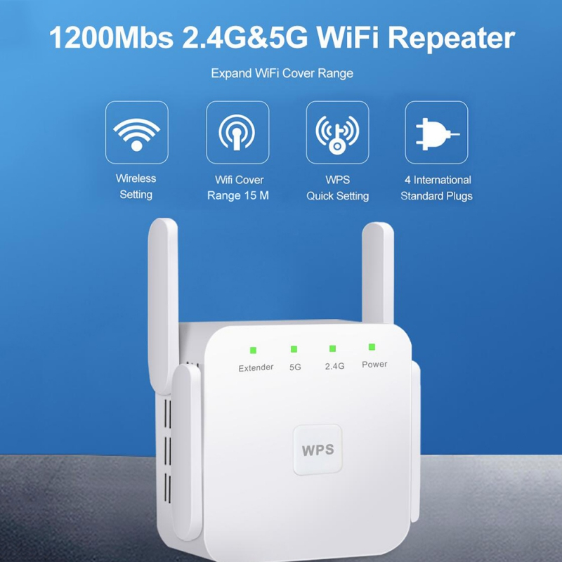 2.4G/5G Wireless WiFi Repeater WiFi Extender 1200Mbps Long Range Repeater Wi-Fi Signal Amplifier AC 2.4G/5Ghz US EU Plug