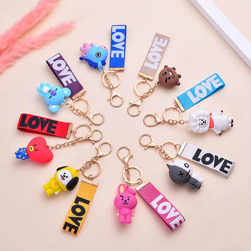 1pcs 5cm Kpop Bangtan Boys Suga TATA Koya Cute Cartoon Keychain Decoration Bangtan Bags Chain Accessories Plastic Toy
