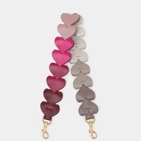 2019 New Colorful Bag Strap High Quality PU Leather New Arrivals Heart Shaped Handbag Strap Fashionable Decoration for Bag