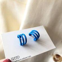 Серьги кольца женские трехслойные с синими вставками ювелирные