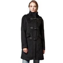 Escalier Women Wool Coat Hoodie Winter Classic Duffle Toggle Pea Coats