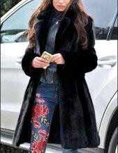 Winter Women Faux Fur Coat Luxury Long Fur Coat Loose Notch Lapel OverCoat Thick Warm Plus Size Female Plush Coats Outwear notch lapel floral print back vent coat