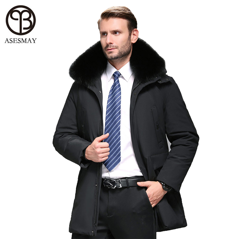Asesmay 2019 New Arrival Men Down Jacket Winter Coat Hood Thick Men's Goose Feather Parkas Detachable Natural Fur Long Jackets