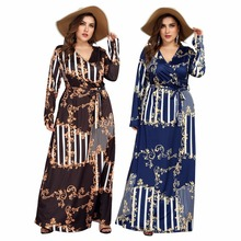 3XL 4XL Women Summer Autumn Big Size Dress Elegant printing Female Large Evening Party Dresses vestido Plus size