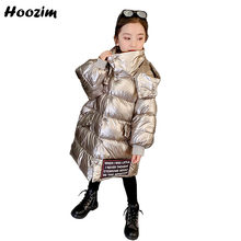 Winter High Street Quilted Jacket Girls 4-13 Year Gorgeous Detachable Cap Parka Children Fashion Letter Long Outewear Coat Girls(China)