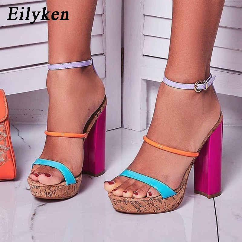 Eilyken Summer Platform Wood grain Mixed Color Sandals Woman Open Toe Ankle Buckle T-Strap Thick High Heel Gladiator Sexy Shoes