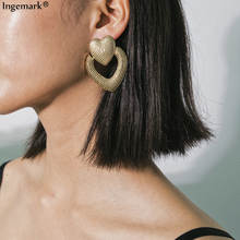 Ingemark Punk Double Heart Metal Plating Stud Earring Ornaments Steampunk Jewelry Love Hearts Best Girlfriend Ear Gifts