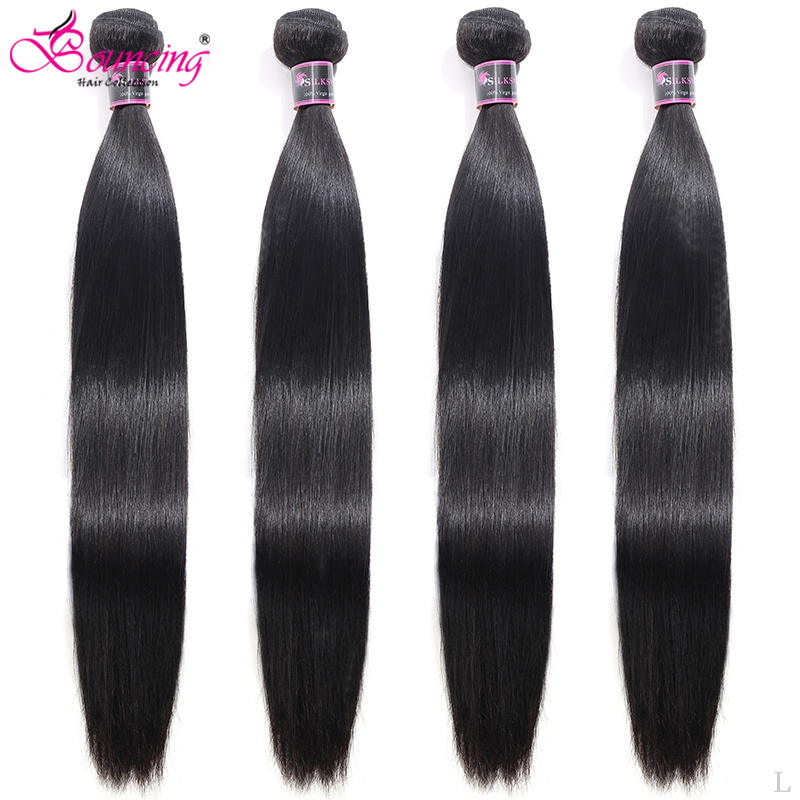Bouncing Straight 4 Bundles Hair Weave Brazilian 100% Remy Human Hair Extension 30 32 34 36 38 40 50 Inch Hair Weft For Women