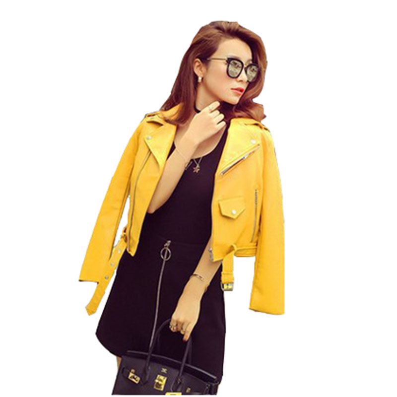 Spring Autumn Fashion Women Leather Jacket 2020 New Short Solid Color Women Jacket Lapel Long Sleeve Women Leather Jacket NUW972