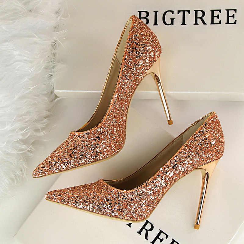 Kadın pompaları yüksek topuklu düğün ayakkabı payetler deri altın Stiletto kadın sivri burun süper ince Heen topuklu seksi bayanlar ayakkabı 43