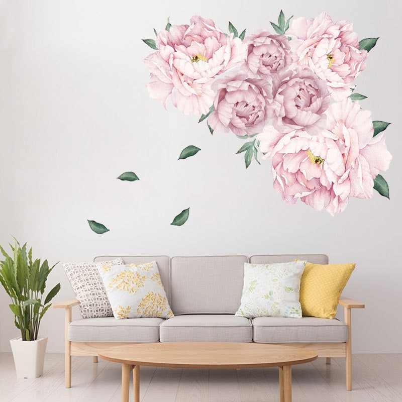 Calcomanía de pared de peonía calcomanías de pared de flores acuarela peonía papel pintado autoadhesivo