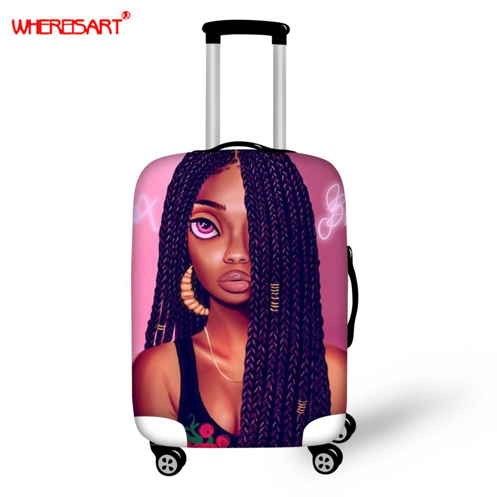 WHEREISART Suitcase Case Travel Trolley Suitcase Protective Cover For 18-30inch Travel Accessories Afro Black Girl Luggage Cover