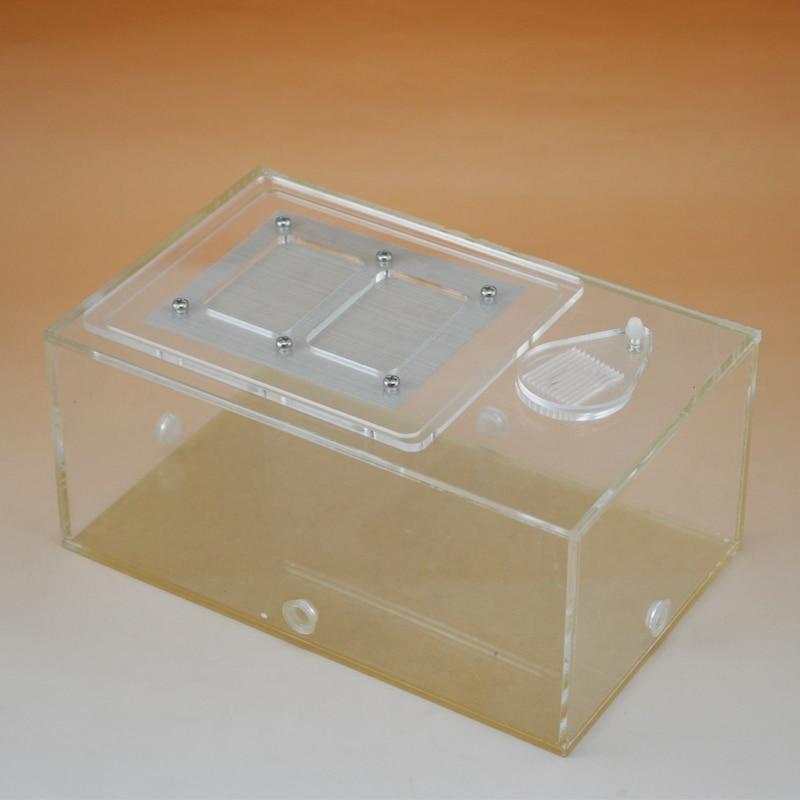 Caja acrílica para mascotas, caja de alimentación 19*12*9cm con 3 orificios de conexión Mini inclinómetro Digital de 360 grados caja de nivel electrónico herramientas de medición de Base magnética
