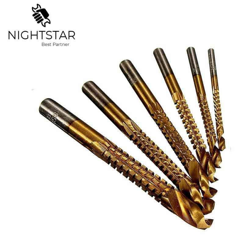6Pcs High Speed Steel Twist Drill Bit Titanium Coated HSS Drill & Saw Woodworking Drilling Drill Bits For Aluminum Wood