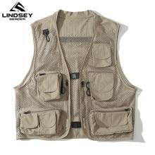 Male Vest Clothing Waistcoat Photography Outdoor Multi-Pockets Mesh Men