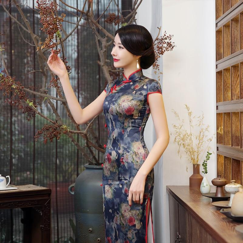 New Style Banquet Formal Dress Spring New Style Cheongsam Printed Silk-Style Performance Long Cheongsam C0117-A