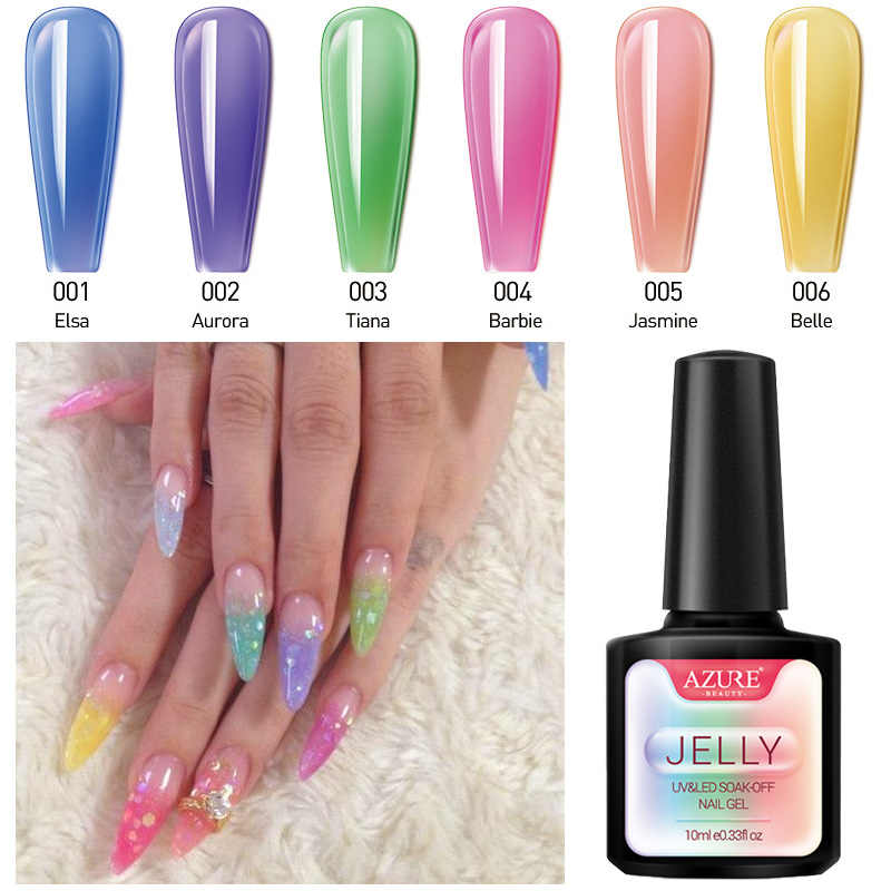 Azure Kecantikan 6 Pcs/lot Jelly Nail Gel Polish Rendam Off Tembus Warna Neon LED Gel Lacquer Semi Permanen Cat Kuku