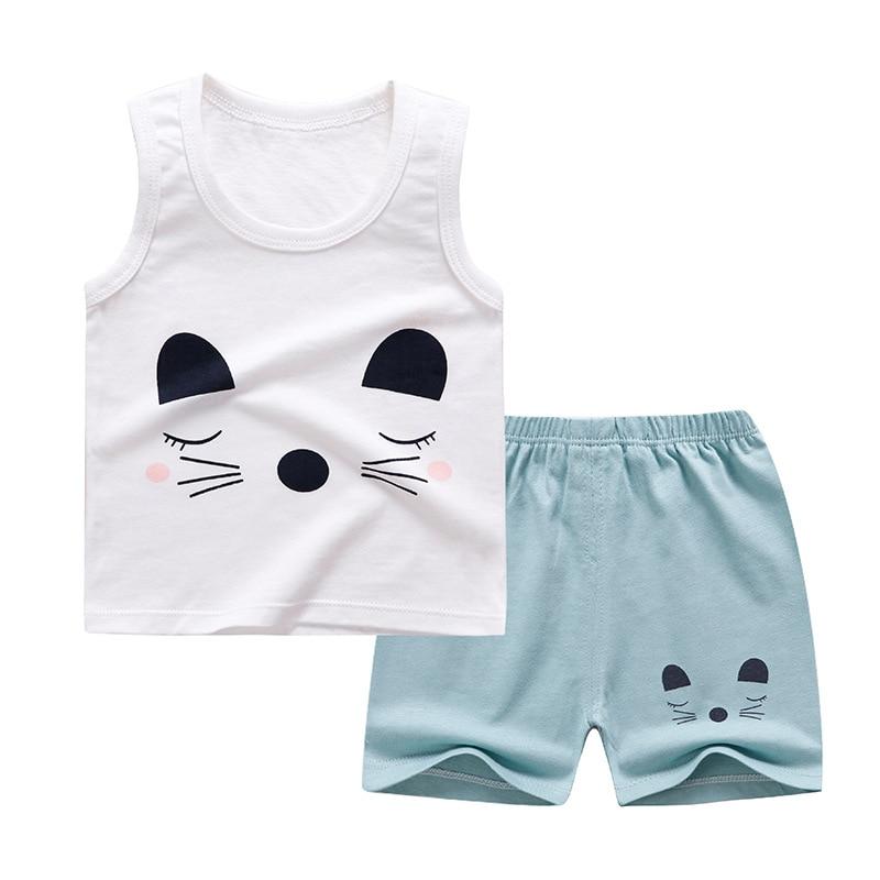 Summer Baby Boys Girls Cartoon Vest Sets Kids Cotton Cartoon Print Tops  + Shorts Children Pajamas Girls Clothing Sets