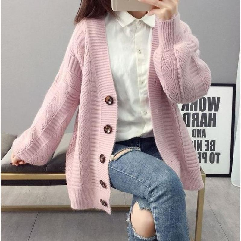 Fashion Elegant Warm Autumn Winter Sweater Cardigan Women Twist Knitted Winter Sweater Cardigan Casual Autumn Pink Cardigan