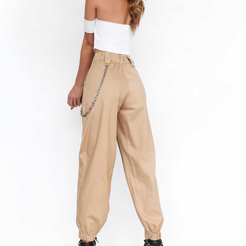 Pantalones Informales Para Mujer Pantalon Holgado De Cintura Alta De Poliester Estilo Coreano Pantalones Y Pantalones Capri Aliexpress
