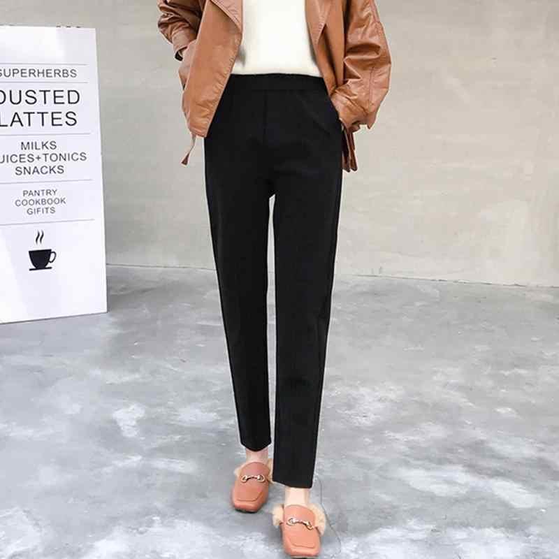 2019 осенние женские зимние корейские свободные шаровары с карманами однотонные повседневные шерстяные свободные брюки теплые однотонные модные брюки