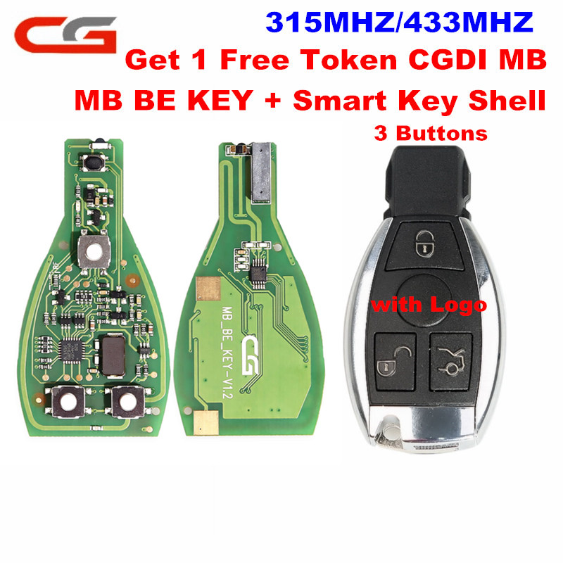 CG MB BE KEY Pro V1 2 315MHZ 433MHZ Get 1 Free Token Works For Benz Perfectly With 3Button Smart Key Shell CGDI MB Prog