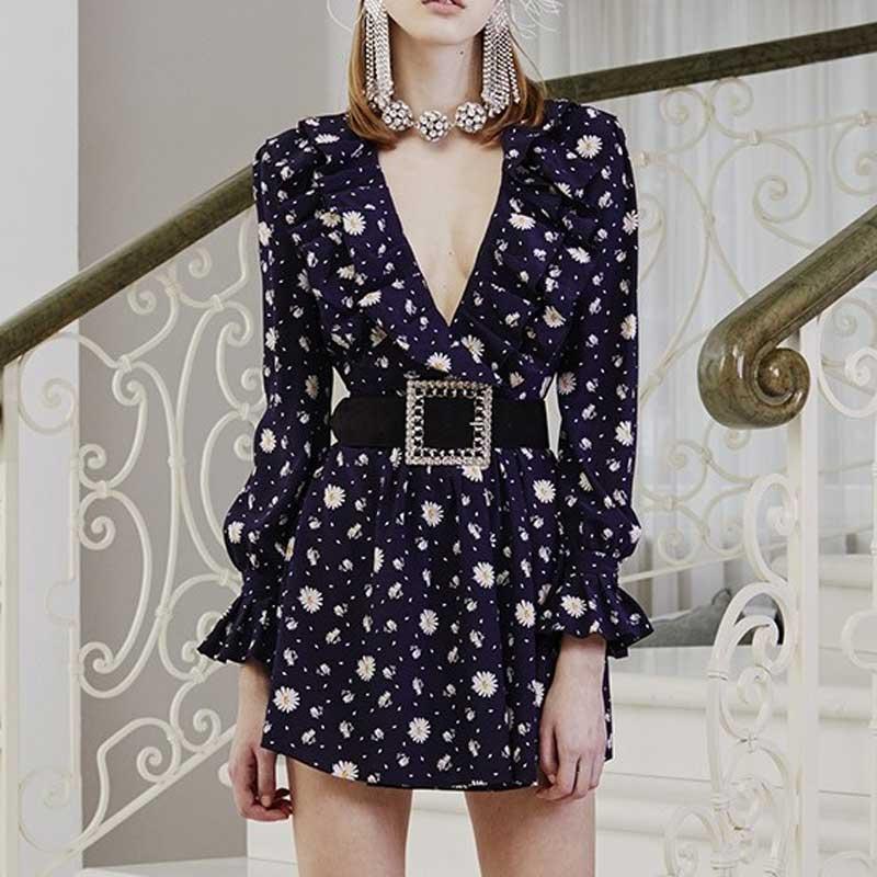 YAMDI femmes Daisy imprimer ceinture Sexy Chic mode robes de soirée à volants col en v Mini robe 2019 nouvelle automne à manches longues Boho robe