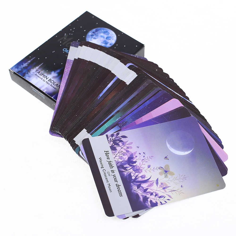 44 cartões conjunto moonology cartões de tarô mágico festa entretenimento mesa cartões de jogo com guia inglês na caixa