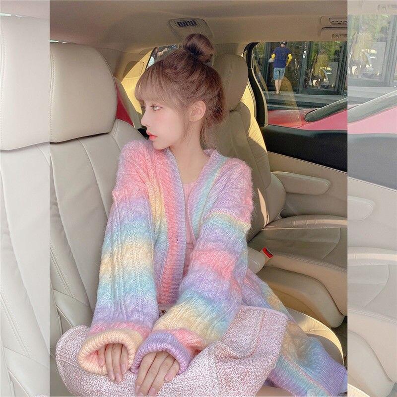 Rainbow Knitted Cardigan Women Autumn winter Sweet Kawaii Sweater Coat Female Long Korean Button Down Cardigan Fall 2020 Women 4