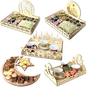 Image 1 - 2020 DIY Wooden Dessert Tray EID MUBARAK Decor for Home Ramadan Decor Pendants Islamic Muslim Party Decor Eid Al Adha